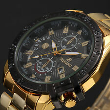 Luxury Mens Black Dial Gold Stainless Steel Quartz Analog Sport Wrist Watch 2016