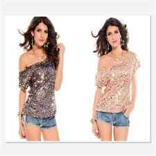Loose Neckline Off-Shoulder Design Seductive Off-shoulder Glistening Sequin Top