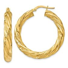 5 mm Large Twisted Hoop Earrings in Genuine 14k Yellow Gold - 30 to 36mm