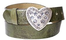 FRONHOFER Women's belt with heart Belt buckle, Rhinestones, real leather