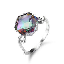 Genuine Fire Rainbow Topaz Ring 925 Sterling Silver Amazing New For Women