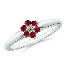 Natural Round Ruby and Diamond Cluster set Ring 14k White Gold Size 3-13