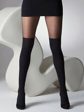 Gipsy Mock Ribbed Over the Knee Tights Black Sock Look Fashion Tights