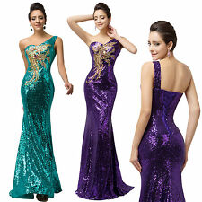 Sparkly Sequins Mermaid Long Evening Gown Formal Wedding Prom Bridesmaid Dress