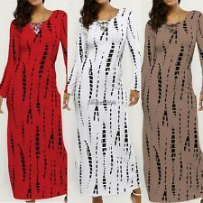 Fashion Women O-Neck Long Sleeve Back Slit Print Slim Fit Maxi Long Dress BF9