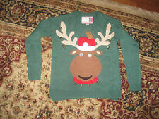 New Women's UGLY CHRISTMAS SWEATER Xmass ReindeerWith Bells  Size Medium