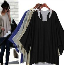 New Womens 2 in 1 Style New Hot Loose Batwing Tops Blouses T-shirt & Vest 3color