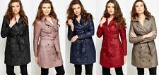 NEW LADIES WOMENS PADDED QUILTED PARKA LONG JACKET TRENCH COAT UK 8 10 12 14 16