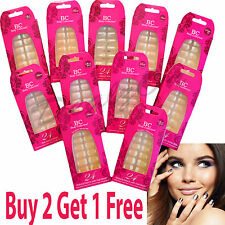 Body Collection Air Brushed 24 False French Nails Tip Glue Buffer Fake Pre-Glued
