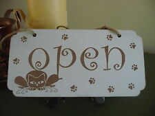 Open / Closed Shop Sign Wooden Shabby Double Sided Door Hanging Chic Cat Pet