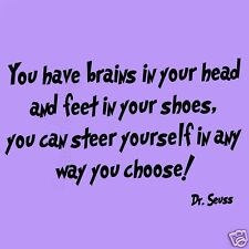 Dr Seuss  You Have Brains in Your Head Wall Decals Kids Room Quote Fun Saying