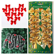 12 X red and gold Christmas Tree Bows,bow Decoration,Gift,Ornament,Merry XMAS!
