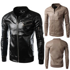 Mens PU Leather Jacket Motorcycle Punk Jacket Slim Fit Blazer Coat Outerwear Top