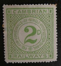 RAILWAY LETTER STAMP - CAMBRIAN RAILWAY 1ST ISSUE 1891 2d GREEN