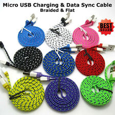 1M 2M 3M New Strong Flat Braided Micro USB Data Sync Charging Cable Smart Phone
