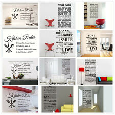 HOT House Quote Kitchen Rules Letters Room Decor DIY Decals Art PVC Wall Sticker