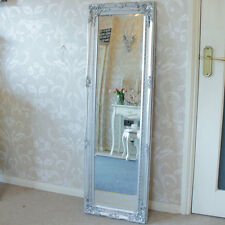 Tall slim silver wall mirror shabby vintage chic French ornate bedroom hallway