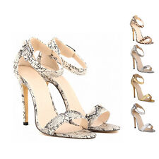 VICT Snake Leopard Effect Stiletto Ankle Strap Womens High Heel Sandals Shoes
