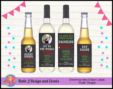 ** PERSONALISED CHRISTMAS XMAS WINE BOTTLE LABELS GIFTS PRESENTS **