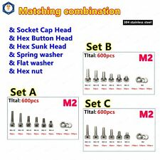 600pcs M2 304 Stainless Steel Allen Screws Bolt With Hex Nuts Washers Assortment