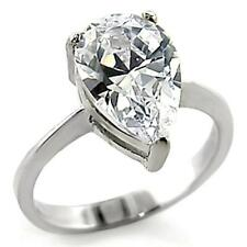 Sterling Silver Engagement Ring Cubic Zirconia Size 7 9 10 Promise Pear Cut USA