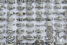 10Ps Wholesale Mixed Lots Wedding CZ Rhinestone Silver plated Rings FREE