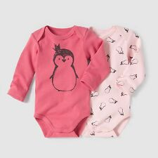 Baby Girls Pack Of 2 Long-Sleeved Bodysuits, 0 Months - 3 Years