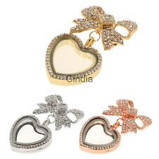 Bow Living Memory Floating Charm Heart Glass Locket Pendant Necklace Brooch Pin