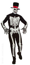 MENS SKELETON COSTUME DELUXE FANCY DRESS HALLOWEEN OUTFIT GLOVES & SKULL MASK