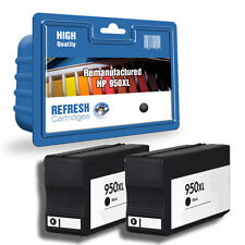 2 REMANUFACTURED HP950XL 950 HIGH CAPACITY BLACK INK CARTRIDGES FOR HP OFFICEJET