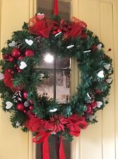 Luxury Quality Christmas Door Wreath Cones Berries Apples Hearts Satin Red 50cm