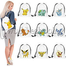 Pokemon Go Drawstring Backpack Cinch Sack Gym Tote Bag School Sport Pack Cute