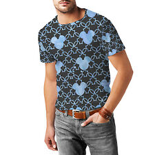 Mickey Mouse Watercolor Blue Mens Cotton Blend T-Shirt XS-3XL All-Over-Print