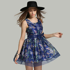 Luxury Womens Summer Sleeveless Floral Printed Bowknot Pleated Cocktail Dress