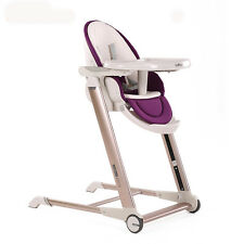 Luxury Baby Highchair Adjustable Foldable Metal Children Eatting Dinner Chair