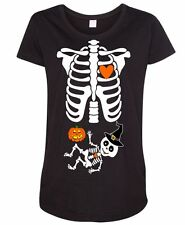 Baby Skeleton Halloween Witch Pumpkin Mommy to Be Mom Costume Maternity T-Shirt