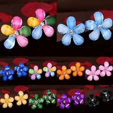 Wedding Fashion Flower Ear Stud Earrings Crystal Rhinestone Xmas Women Jewelry