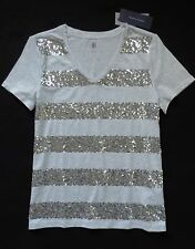 NWT Tommy Hilfiger Women's V-Neck Sequin Striped Top, Gray, Size: M