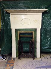 original antique victorian / edwardian Cast Iron tiled combination fireplace