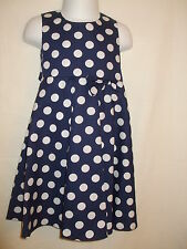 Girls Navy Blue Summer Dress with White Dots - 3-4 and 4-5 Years