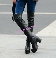 Womens Stylish High Block Heels Platform Over Knee Thigh Boot Shoes Faux Leather