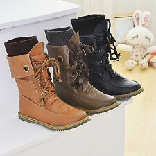 Womens Casual PU Leather Lace Up Combat Boots Punk High Top Ankle Martin Booties