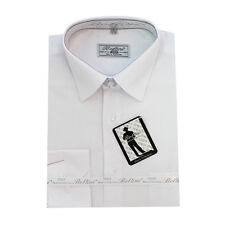 Solid Mens Dress Shirt French Convertible Cuff Boltini Italy - White