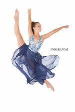 White Blue Sequin dance costume lyrical slow modern waltz tap costume slow tap,