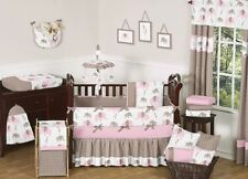 Sweet Jojo Designs Modern Pink and Brown Mod Elephant Baby Girl Bedding 9pc Crib