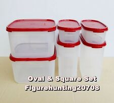 Tupperware Modular Mates Oval I & III & Square II Set (6 pcs, red lids)