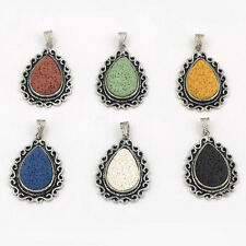 Water Drop Silver Plated Lava Rock Volcano Stone Pendant Charm Pendents Necklace