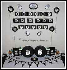 ** ENGAGEMENT PARTY Black Gold Glitter Hearts PERSONALISED Party Decorations **