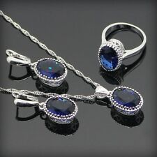 Round Blue Sapphire 925 Sterling Silver Jewelry Sets For Women 925 Sliver  Neckl