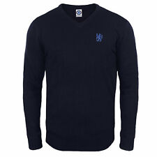 Chelsea FC Official Soccer Gift Mens Lion Crest Knitted V-Neck Jumper